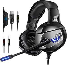 Cuffie Gaming - 7,1 Audio Surround 4D Stereo Cuffie da Gaming per PC, PS4, Xbox One (Necessario Adattatore), Nintendo Switch (Audio), Cuffie da Gioco con Audio Chiaro e Nitido, Luci LED, Comodo Earmuff e Microfono con Funzione di Eliminazione Rumori
