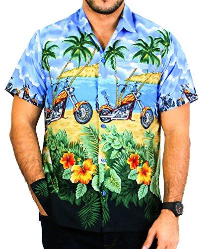 LA LEELA Strand Hawaiihemd Herren XS - 5XL Kurzarm Front-Tasche Hawaii-Print Casual Button Down Hemd Königsblau Blau