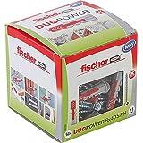 Fischer DUOPOWER 8 x 40 S PH, universele pluggen met pankopschroef, 2-componenten pluggen, kunststof pluggen voor bevestiging