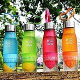 Botella de agua de 650ml con infusor de frutas–Crea tu propia agua infundida con fruta de forma natural - Zumo, té helado, limonada y bebidas con gas, amarillo