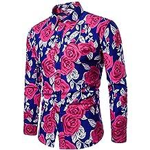 Hombre camisa Imprimir manga larga Otoño,Sonnena ❤ Blusa estampada hombre moda flor Camisas