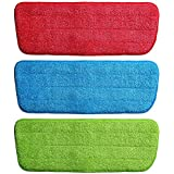 Wishpool Microfiber Spray Mop Replacement Head Pad (Colour As Per Availability) -Set of 3
