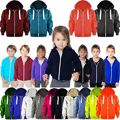 AHR Z&H Kids Girls & Boys Unisex Plain Fleece Hoodie Zip Up Style Zipper Age 2-13 Years