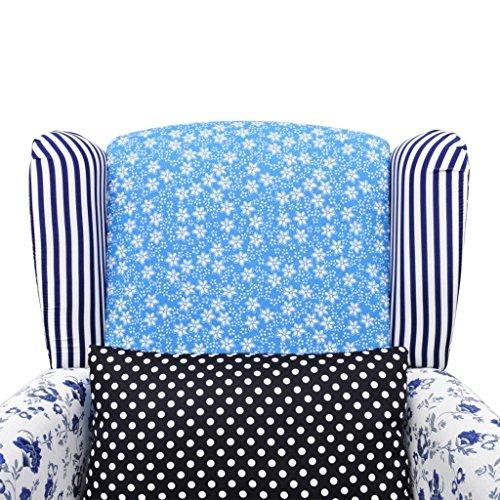 Relaxsessel vidaXL Blumen Blau & Weiß - 5