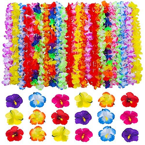 Bememo-Materiales-de-Fiesta-de-Luau-24-Piezas-Guirnalda-Hawaiana-de-Flores-y-36-Piezas-Flores-de-Hibisco-para-Fiesta-Temtica-de-Playa-Cumpleaos
