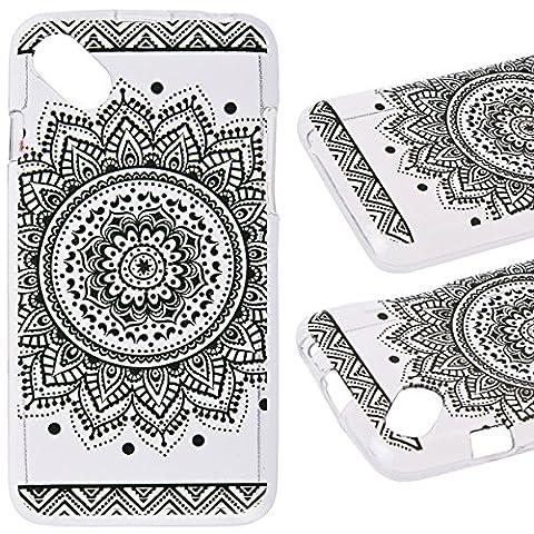We Love Case Etui pour Wiko Sunset 2 Coque Souple Silicone Gel TPU Housse de Protection Transparent Cas de Téléphone Back Cover avec Motif Mandala Noir