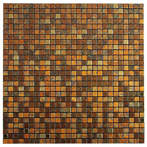 Royllent Modern Metal Aluminum Mosaic Brushed Type Peel&Stick Tiles Kitchen Decoration Backsplash Accent wall Tv&Sofa Background Bathroom Wall Home Dec 1 Sq.ft Gold(14)