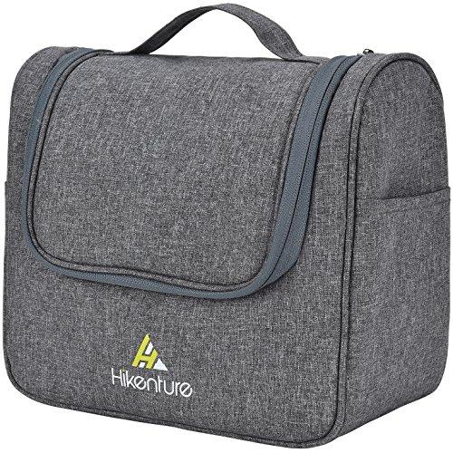 Kulturbeutel zum Aufhängen von Hikenture® - Kulturtasche für Damen und Herren - Kosmetiktasche Waschtasche mit Haken für Reisen, Outdoor, Camping (Grau)