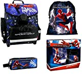 Spiderman Schulranzen Jungen 1 Klasse Tornister Schulrucksack Schultasche SET 5 teilig für Grundschule super leicht unter 1 Kilo ! ZTE2KAS
