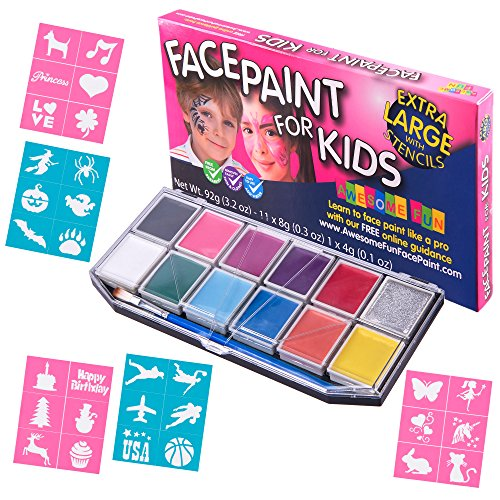 Face Paint Kit mit 30 Schablonen Xx groß. Face Painting Set für Kinder – 12 Farben Party Pack + Glitzer Gel + 3 Pinsel + Bonus Online Guide, Kosmetik Qualität sicher und ungiftig, auf Wasserbasis. (Kit Facepainting)
