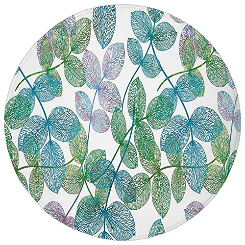 ZMYGH Round Rug Mat Carpet,Floral,Flowers Leaves Ivy Vein Like Rainbow Ombre Colored Art Print,Light Blue Fern Green Purple White,Flannel Microfiber Non-Slip Soft Absorbent,for Kitchen Floor Bathroom Ivy Leaf Cutter