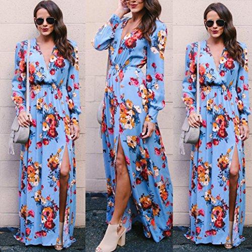 ... Sommerkleid Damen Longra Blumen Kleid Lange Kleider Maxikleid Damen  V-Ausschnitt Langarm Boho Beach Kleid ... ceecd8e86e