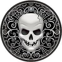 6 Stk Einwegteller Partyteller schwarz Ø 23 cm Teller Pirat mit Totenkopf