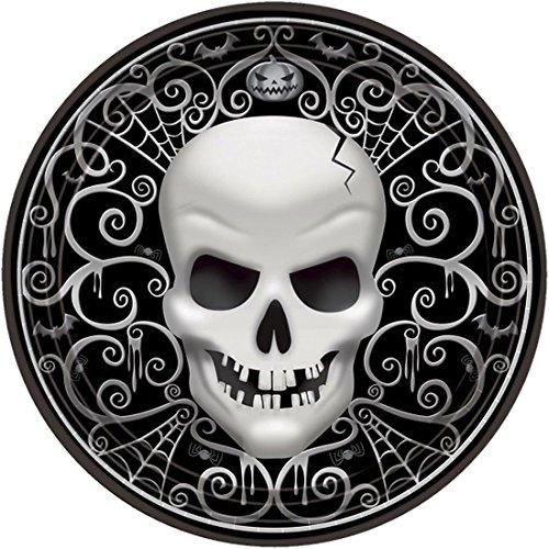 NET TOYS 8 STK. Pappteller Halloween Partyteller Totenkopf Einwegteller Deko Schädel Party Teller Skull Einwegteller Skelett Kopf