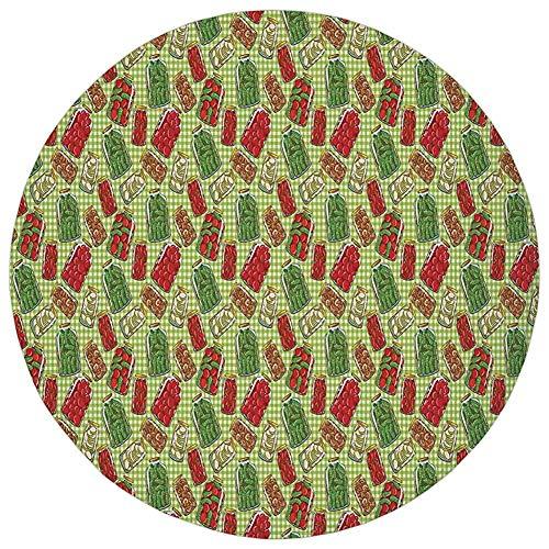 Round Rug Mat Carpet,Kitchen Decor,Vintage Style Pattern Glass Jars Kitchenware Pickles Picnic Retro Art Cafe Home,Green Red White,Flannel Microfiber Non-slip Soft Absorbent,for Kitchen Floor Bathroom - Blue Pickle Dish