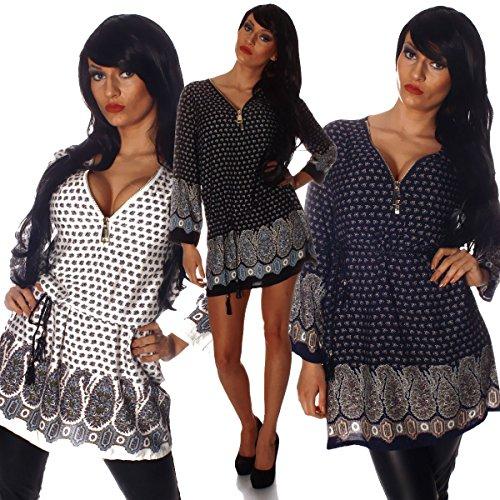 Fashion4Young - Robe - Taille empire - Femme multicolore Weiß-Schwarz-Muti S/M=36/38 Dunkelblau-Muti