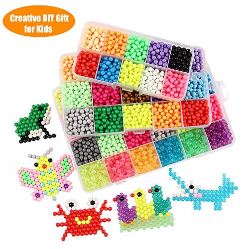 Fuumuui 24 Farben Fuse Beads Kit Kreatives Geschenk Spielzeug für Kinder mit verschiedenen DIY Pegboard Set, ideal für 3 4 5 6 7 8 9 10 11 12 Ohr Alte Mädchen Junge Geschenke