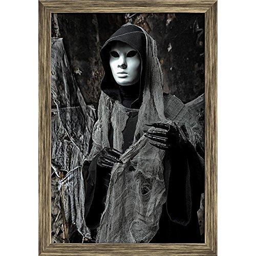 Pitaara Box Halloween Horror D1 Canvas Painting Antique Golden Frame 16 X 23.5Inch (Ag Gold Halloween)