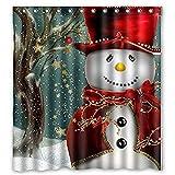 freeas Duschvorhang, Weihnachten Christmas Wasserdicht Stoff Polyester Badezimmer Vorhang mit Haken Home Decor, 180x 180cm #5