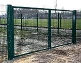Einfahrtstor / Grün beschichtet / 2-flügelig / Einbaubreite: 550cm - Einbauhöhe: 180cm - Inklusive 2 Pfosten (60mm x 60mm) / Mattentor Industrietor