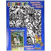 "Terciopelo color de 37 x 28 cm ""Lobo"" Sistema de colorear Dibujo (mediana, Multi-Color)"