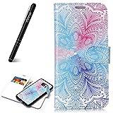 Slynmax Coque Samsung Galaxy S7, [de Fleur Rose Bleu] Housse Flip Cover Clapet 2 en 1...