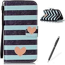 MAGQI Funda Samsung Galaxy S3/9300,Cuero PU Premium Wallet Case,Ranuras para Tarjetas y Billetera Función Stand Anti-rasguños Protector Cover Carcasa con Hermoso Patrón- Raya corazón