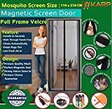 #10: Mosquito Door Net/Curtain - Mag netic Screen Door Full Frame Curtain With Hook and Loop Fastener Tape (110 Cm W X 210 Cm H) (Package Weight - 675 Grams) With Highest Weight In Quality On Amazon By KARP - Black Color