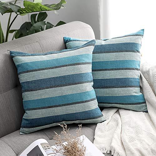 MIULEE 2er Set Streifen Leinenoptik Home Dekorative Kissenbezug Kissenhülle Kissenbezug für Sofa Schlafzimmer Auto mit Reißverschlüsse 50x50cm Blau