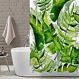 LB Tropische Pflanze,Hawaii Blatt,Palm Tree Pattern,Aquarell-Stil_Duschvorhang Wasserdicht Polyester Stoff Badvorhänge 150W * 180H cm