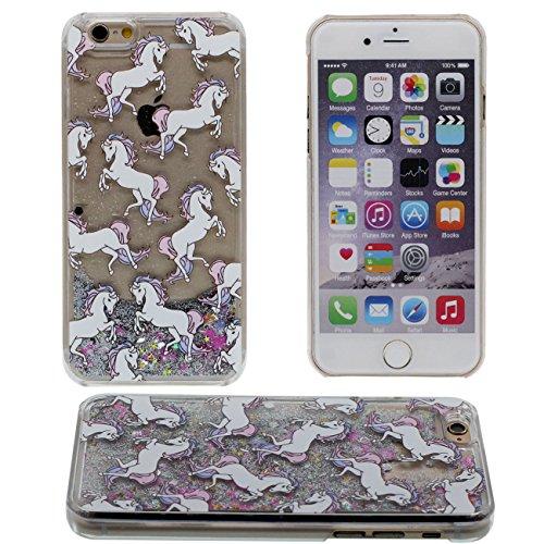 iPhone 7 Plus Coque, Joli Case cheval Blanc Motif Flowable Liquide Eau & Coloré Étoiles sable Transparent Dur PC Plastique Rigide Housse de protection Case pour Apple iPhone 7 Plus 5.5 inch gris