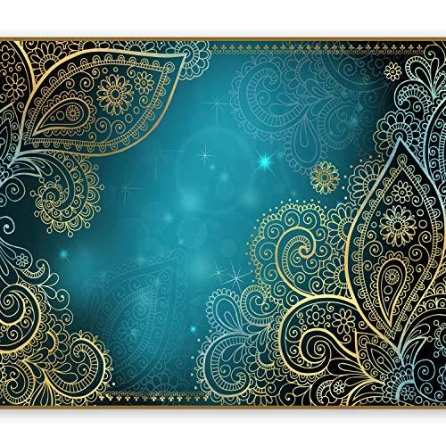 murando - Fototapete 350x256 cm - Vlies Tapete - Moderne Wanddeko - Design Tapete - Wandtapete - Wand Dekoration - Orient Ornament bokeh grau gold blau türkis f-A-0146-a-b