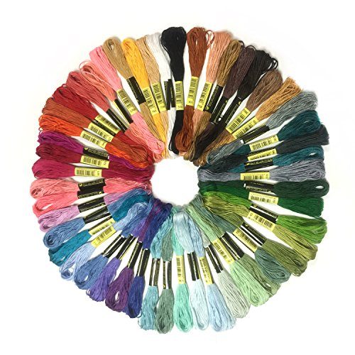 Stickgarn, Wartoon MultifarbenEmbroidery Thread Nähgarne Stickerei Set für Kreuzstich Basteln Freundschaftsbänder(zufällige Farbe) (50 Farben) (Baumwolle-thread 100%)