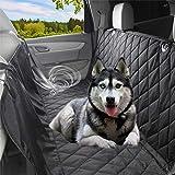 Newmeil Autoschondecke Doppelschicht für Hunde Rücksitz Robust Wasserfest mit Sicherheitsgurt(137cm * 147cm Schwarz)
