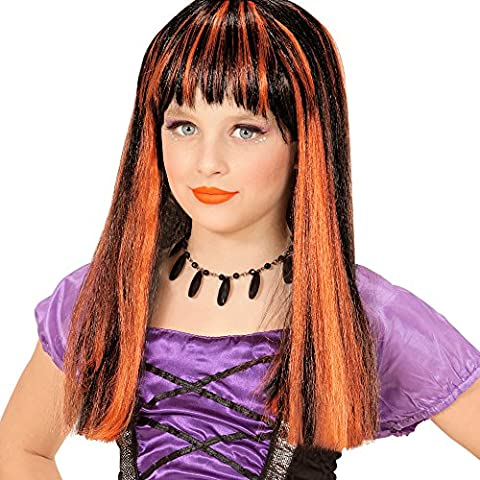 Noir Sorcière Perruque - Perruque Sorcière Noire et Orange - Enfant