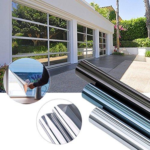 e Spiegelfolie selbstklebend sonnenschutzfolie Ohne Kleber für Fenster Sichtschutzfolie aus PVC 99% UV-Schutz Privatsphäre Glas Fensteraufkleber Fensterfolie 3-5Jahre Lebensdauer(Silber) (Außen Haus Dekor)