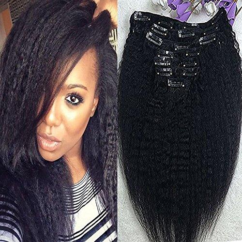 Full Shine 22 Zoll 100% Unprocessed Human Hair Extensions Italian Coarse Yaki Virgin Clip in Hair Extensions Für Afrikanische Frauen 7Pcs 100 Gramm Kinky Geradeaus Schwarz