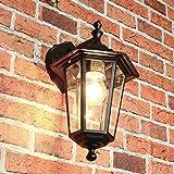 Außenwandleuchte Außenwandlampe Schwarz Aluminium E27 T:22cm Glas Beleuchtung Garten Hof Tür Balkon