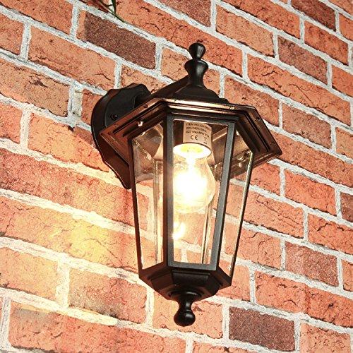 Rustikale Wandleuchte in schwarz 12W E27 LED 230V Wandlampe aus Aluminium für Garten/Terrasse...