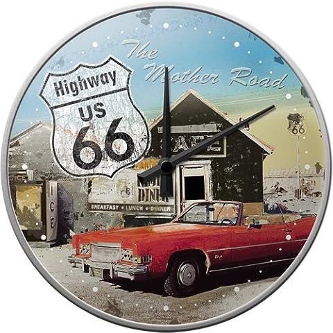 Nostalgic-Art 51033 US Highways 66 The Mother Road, Wanduhr, 31 cm (Schwarz Rocker-uhr)