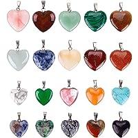 Lvcky, 20 ciondoli a forma di cuore con pietre dei Chakra per lavori fai-da-te, 2 diverse dimensioni, colori assortiti