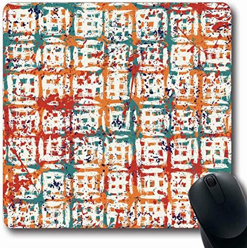 Mousepad Längliche böhmische Aquarell-Block-gestreifte Muster-Überfahrt gebürstete Linien Ethische Streifen Abstrakte Büro-Computer-Laptop-Notizbuch-Mausunterlage Boho Chic, rutschfester Gummi