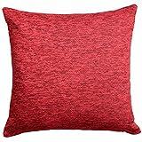 "Ideal Textiles, Luxury Cushion Covers, Plain Chenille Cushion Cover, 18"" x 18"", 45cm x 45cm (Red)"