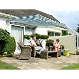 Tenda da Sole Avvolgibile manuale conveniente da 2.5mt a strisce bianche e verdi