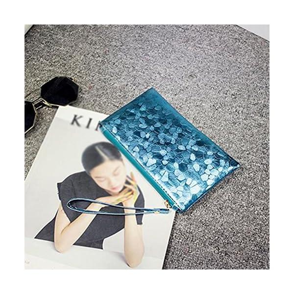 61biIu4vCwL. SS600  - Fansi - Bolso de mano multifunción para mujer, 1 unidad, bolsa de almacenamiento, pu, azul, 19*11*2cm