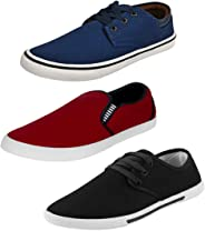 Bersache Men's Multicolor Combo Pack of 3 and Casual Wear Canvas Loafers & Moccasins