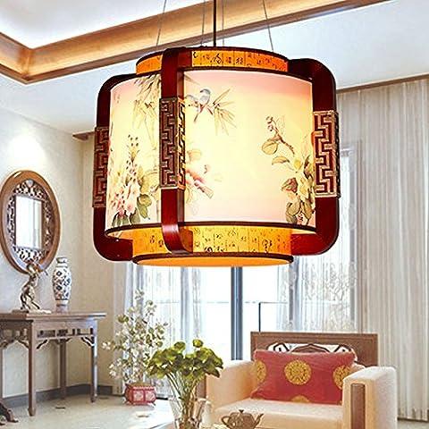MSUXT Iluminación colgante Peony chinas clásicas lámparas lámparas pintadas a mano de madera ligera vitela Lámpara de estudio