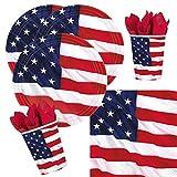 32-teiliges Party-Set USA - Amerikanische Flagge - Teller Becher Servietten für 8 Personen