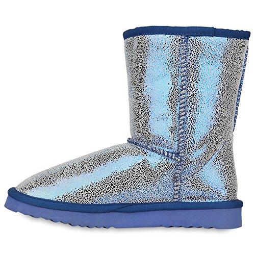 Stiefelparadies Damen Stiefeletten Schlupfstiefel Warm Gefütterte Stiefel Schuhe Flandell Dunkelblau Carlet