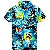 piabigka Camicie Stile Hawaiano con Stampa Fiore di Ibisco Festa sulla Spiaggia Aloha